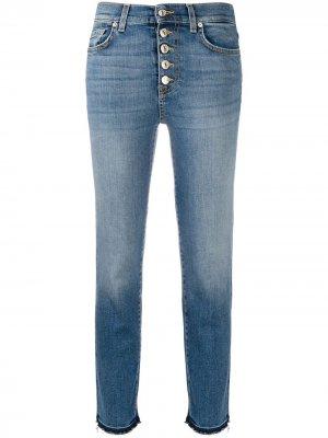 Укороченные джинсы прямого кроя 7 For All Mankind. Цвет: синий