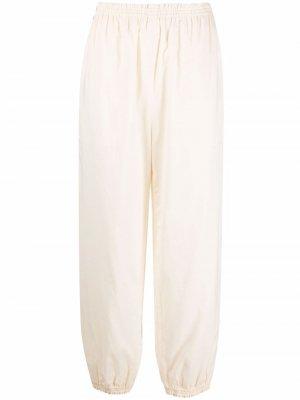 Зауженные брюки с контрастной отделкой Tory Burch. Цвет: нейтральные цвета