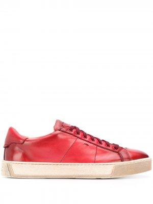 Кеды на шнуровке Santoni. Цвет: красный