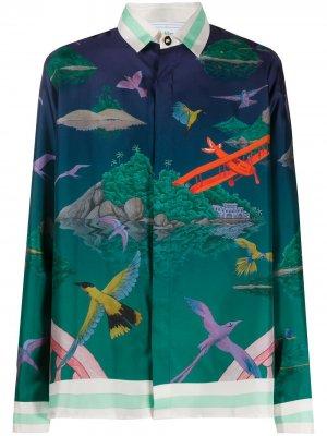 Рубашка Ocean Resort с длинными рукавами Casablanca. Цвет: синий