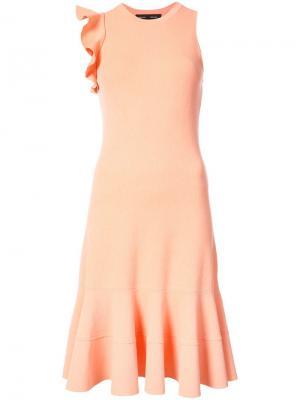 Платье без рукавов с оборками на плече Proenza Schouler. Цвет: розовый