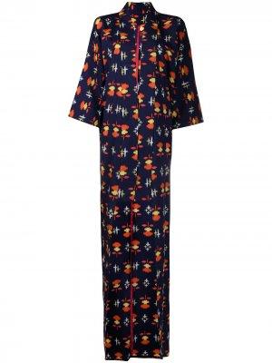 Пальто-кимоно 1990-х годов с абстрактным принтом A.N.G.E.L.O. Vintage Cult. Цвет: синий