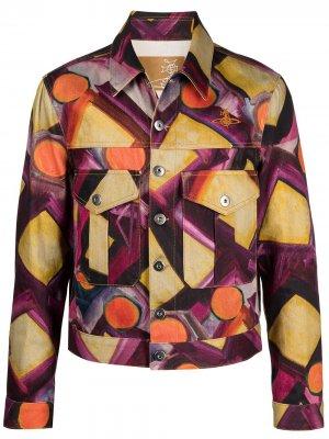 Джинсовая куртка с абстрактным принтом Vivienne Westwood. Цвет: фиолетовый
