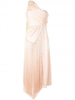 Платье на одно плечо с бахромой Jonathan Simkhai. Цвет: розовый