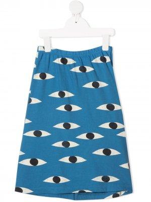 Юбка-брюки с графичным принтом Bobo Choses. Цвет: синий