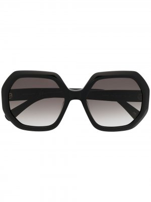 Солнцезащитные очки в массивной оправе Longchamp. Цвет: черный
