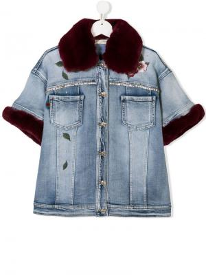 TEEN embellished denim jacket Monnalisa. Цвет: синий