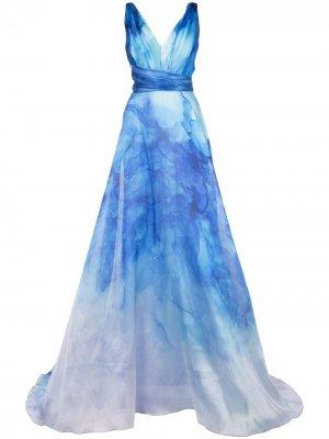 Расклешенное платье с принтом Marchesa Notte. Цвет: синий