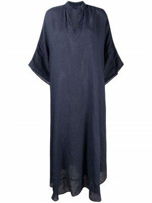 Расклешенное платье 120% Lino. Цвет: синий