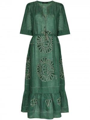 Платье Camelia с вышивкой Vita Kin. Цвет: зеленый