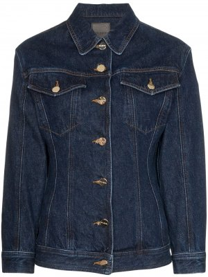 Приталенная джинсовая куртка GOLDSIGN. Цвет: синий