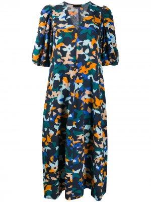 Платье-трапеция с цветочным принтом Stine Goya. Цвет: синий