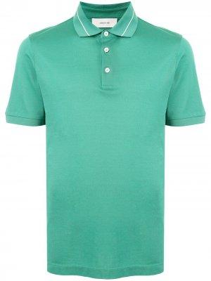 Рубашка поло с отделкой в полоску Cerruti 1881. Цвет: зеленый