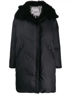 Пальто оверсайз с капюшоном Yves Salomon Army. Цвет: черный