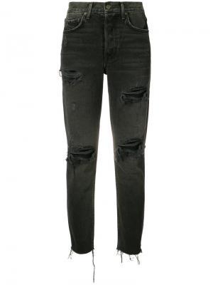 Рваные укороченные джинсы Grlfrnd. Цвет: черный