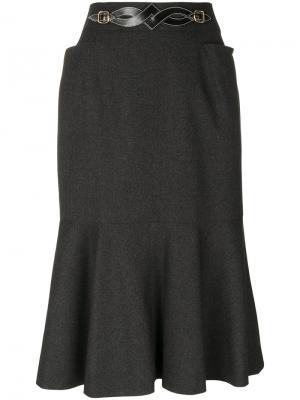 Юбка с пряжкой Hermès Vintage. Цвет: серый