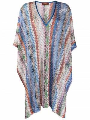 Пляжное платье с цветочным узором Missoni. Цвет: синий