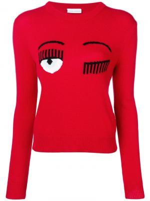 Трикотажный свитер Flirting Chiara Ferragni. Цвет: красный