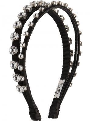 Ободок с украшением из кристаллов Miu. Цвет: черный