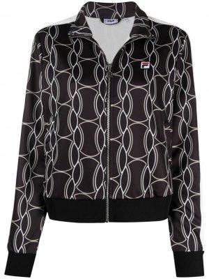 Спортивная куртка с графичным принтом Fila. Цвет: черный
