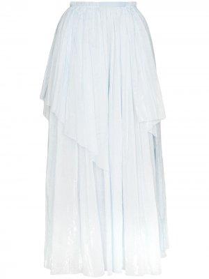 Юбка макси асимметричного кроя с жатым эффектом Vika Gazinskaya. Цвет: синий