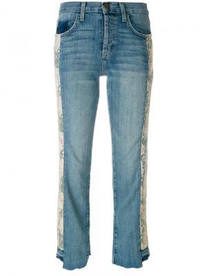 Укороченные джинсы с цветочным принтом Current/Elliott. Цвет: синий