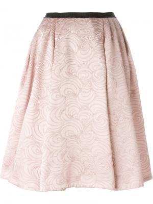 Расклешенная жаккардовая юбка Antonio Marras. Цвет: розовый и фиолетовый