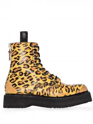 Ботинки с леопардовым принтом R13. Цвет: желтый