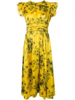 Платье с оборками и цветочным принтом Nº21. Цвет: желтый
