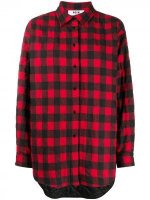 Рубашка в клетку на пуговицах MSGM. Цвет: красный