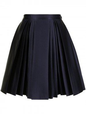 Плиссированная юбка мини А-силуэта Dice Kayek. Цвет: синий