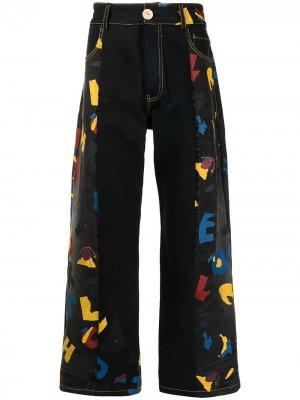 Широкие джинсы с графичным принтом Bethany Williams. Цвет: черный