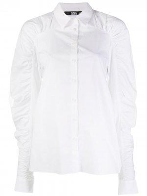 Поплиновая блузка со сборками Karl Lagerfeld. Цвет: белый