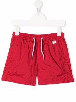 Плавки-шорты с нашивкой-логотипом Mc2 Saint Barth Kids. Цвет: красный