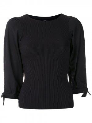 Блузка в рубчик с завязками на рукавах Eva. Цвет: черный