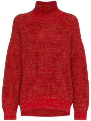 Вязаный свитер с высокой горловиной Vika Gazinskaya. Цвет: красный