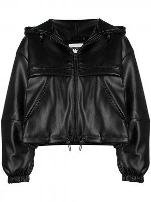 Укороченная куртка из искусственной кожи Apparis. Цвет: черный