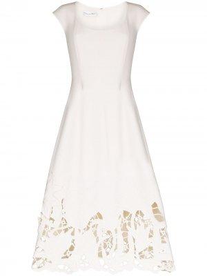 Платье с кружевом Oscar de la Renta. Цвет: белый