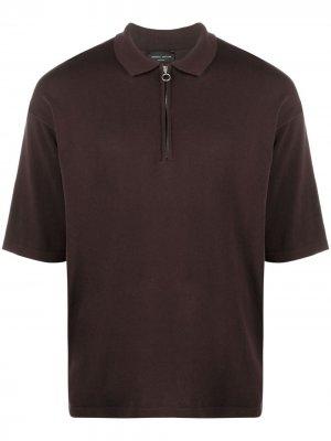 Рубашка поло на молнии Roberto Collina. Цвет: коричневый
