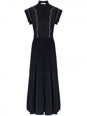 Платье миди с рукавами кап Chloé. Цвет: черный