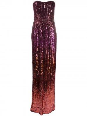 Платье без бретелей с пайетками и эффектом омбре Jenny Packham. Цвет: розовый