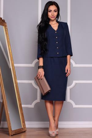 Комплект: приталенный жакет и юбка-карандаш MAURINI. Цвет: темно-синий