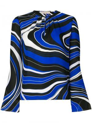 Блузка с волнистым принтом Emilio Pucci. Цвет: синий