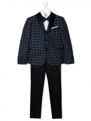 Жаккардовый костюм-тройка Colorichiari. Цвет: синий