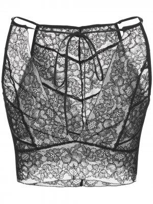 Кружевной бралетт с цветочным узором Kiki de Montparnasse. Цвет: черный