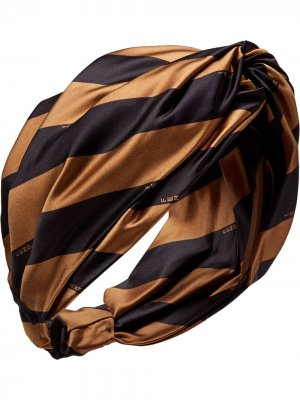 Полосатая повязка на голову Fendi. Цвет: черный