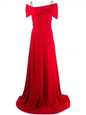 Вечернее платье с открытыми плечами и запахом Giambattista Valli. Цвет: 6750 red