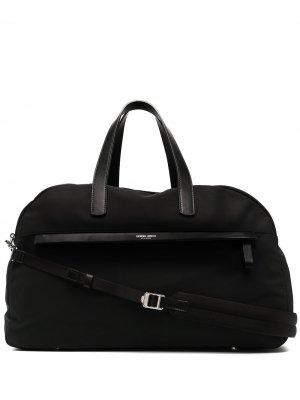 Дорожная сумка с логотипом Giorgio Armani. Цвет: черный