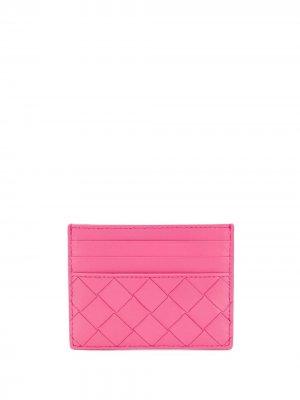 Картхолдер с плетением Bottega Veneta. Цвет: розовый