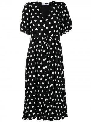 Платье миди в горох Faithfull the Brand. Цвет: черный